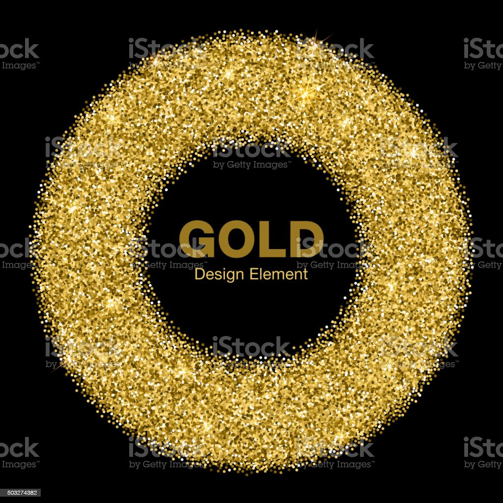 Golden Bright Glowing Circle Frame. Jewelry Gold Emblem Logo Concept. vector art illustration