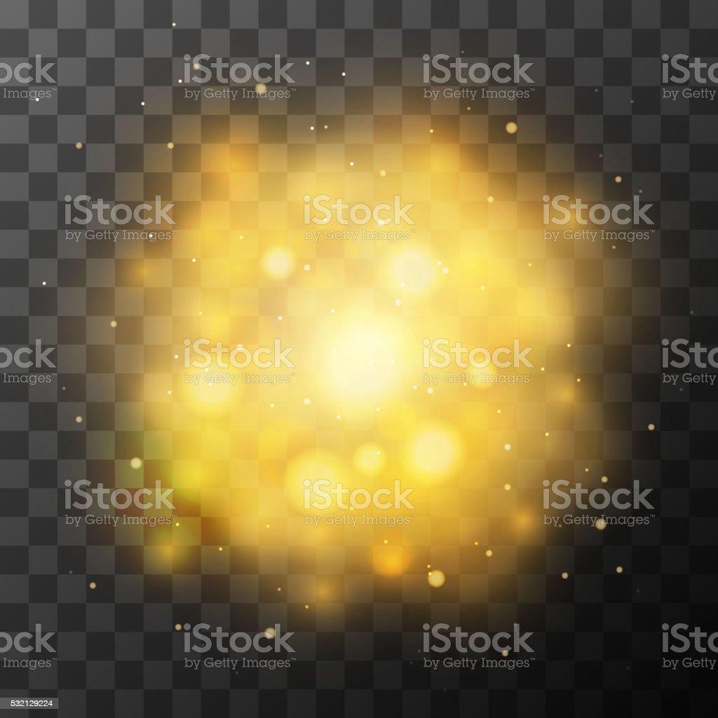 Golden bright light, magic effect in the dark vector art illustration
