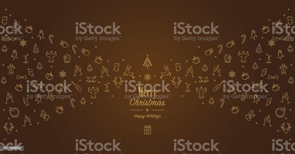 Golden brown christmas card vector art illustration