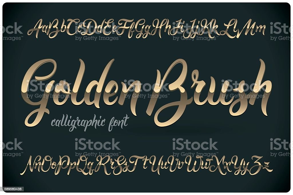 Golden Brush calligraphic font with glossy metall effect vector art illustration