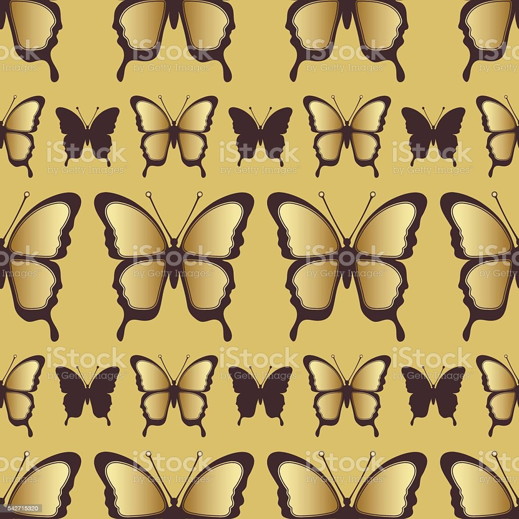 Golden butterfly seamless pattern. Luxury design, expensive jewelry royalty-free stock vector art
