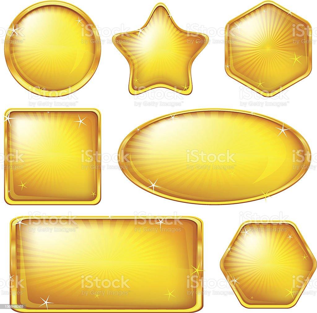Golden buttons, set royalty-free stock vector art