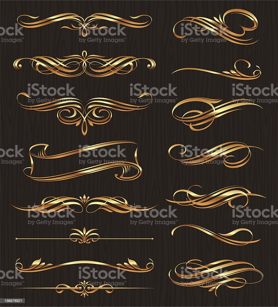 Golden calligraphic design elements royalty-free stock vector art