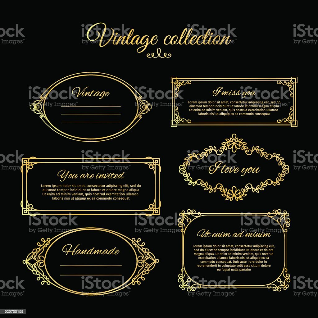 Golden calligraphic vignettes vector art illustration
