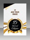 Golden Celebration Layout business brochure. Layout flyer, template.  Stock Illustration