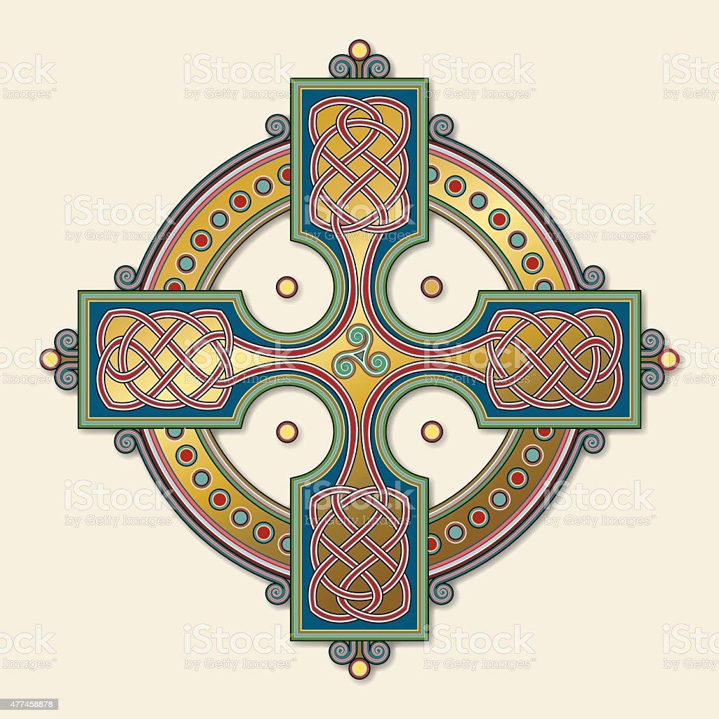 Golden Celtic cross ornament (Knotted cross variation n° 6) vector art illustration