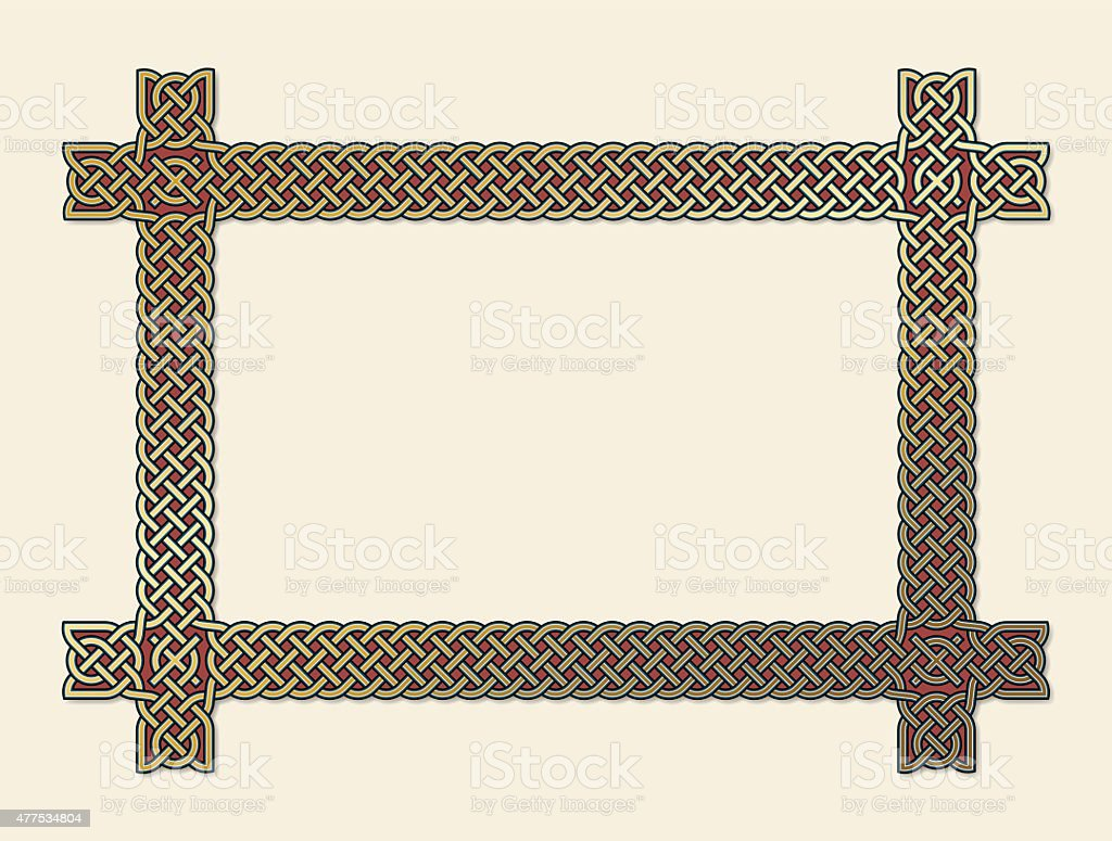 Golden Celtic knot frame element vector art illustration