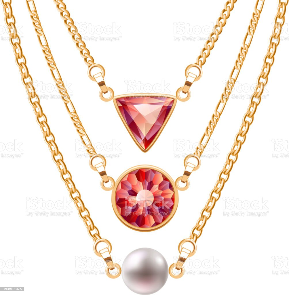 Golden chain necklaces set  with round triangle ruby pendants and vector art illustration