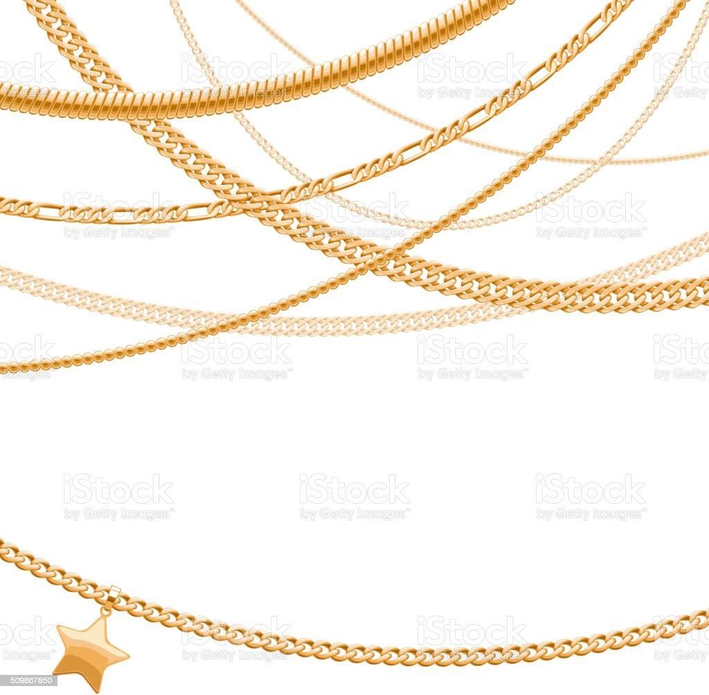 Golden chains on white background vector art illustration