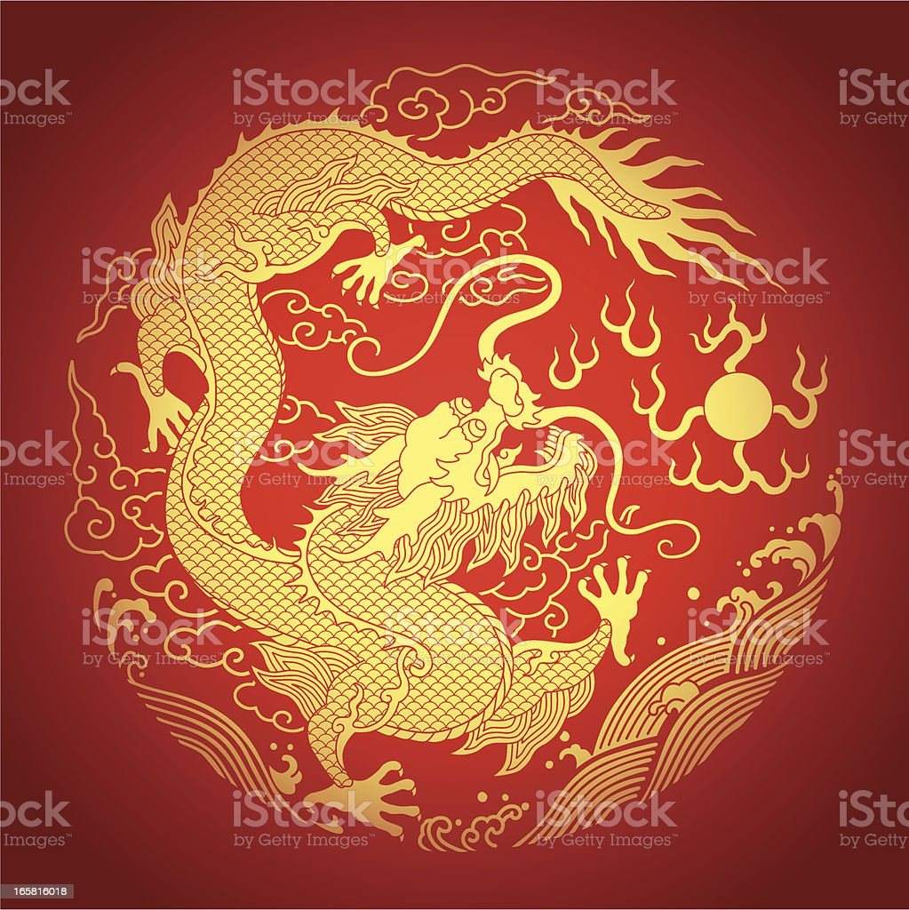 A golden Chinese dragon on a red background vector art illustration