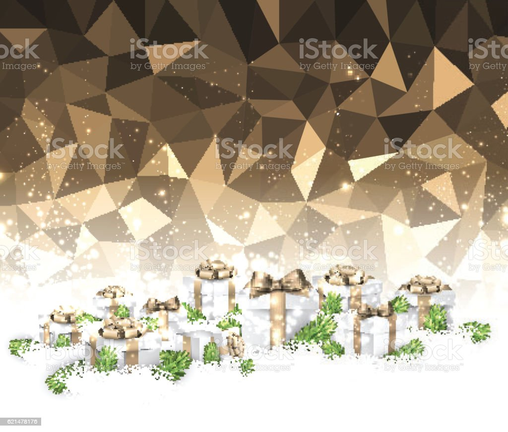 Golden Christmas background with gifts. vector art illustration