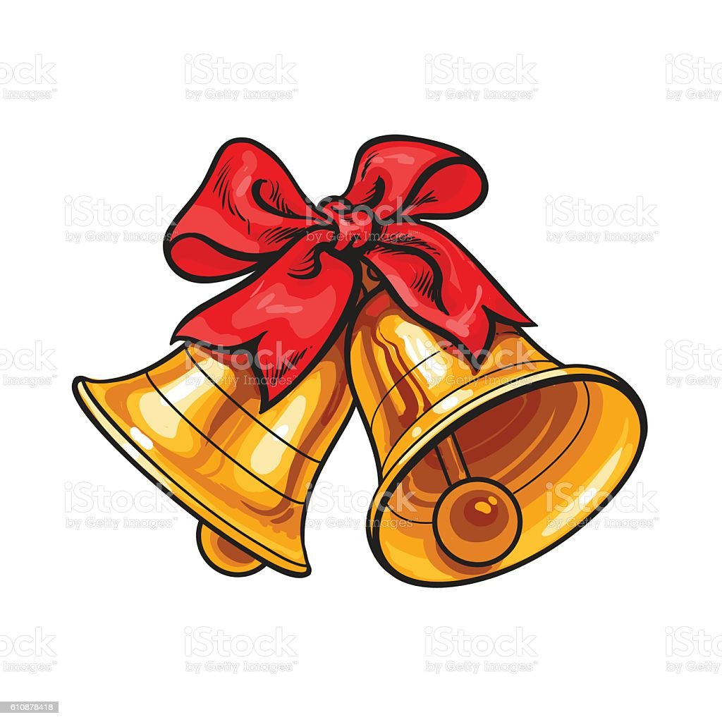 Golden Christmas bells with a red bow vector art illustration