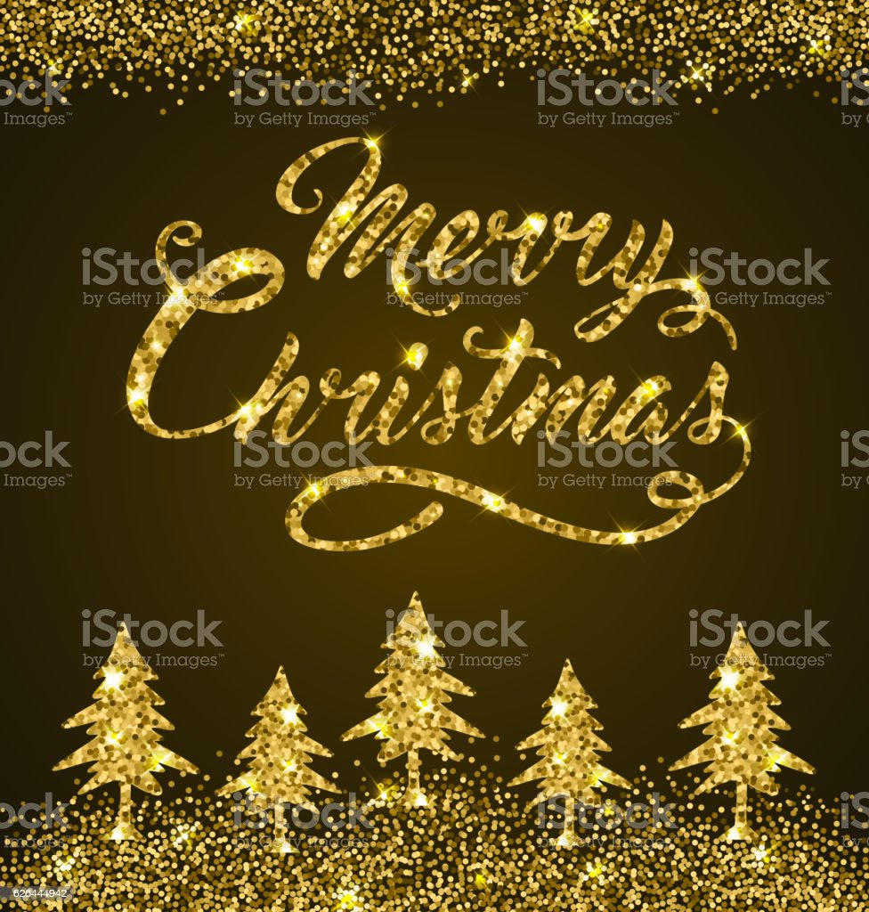 Golden Christmas lettering vector art illustration