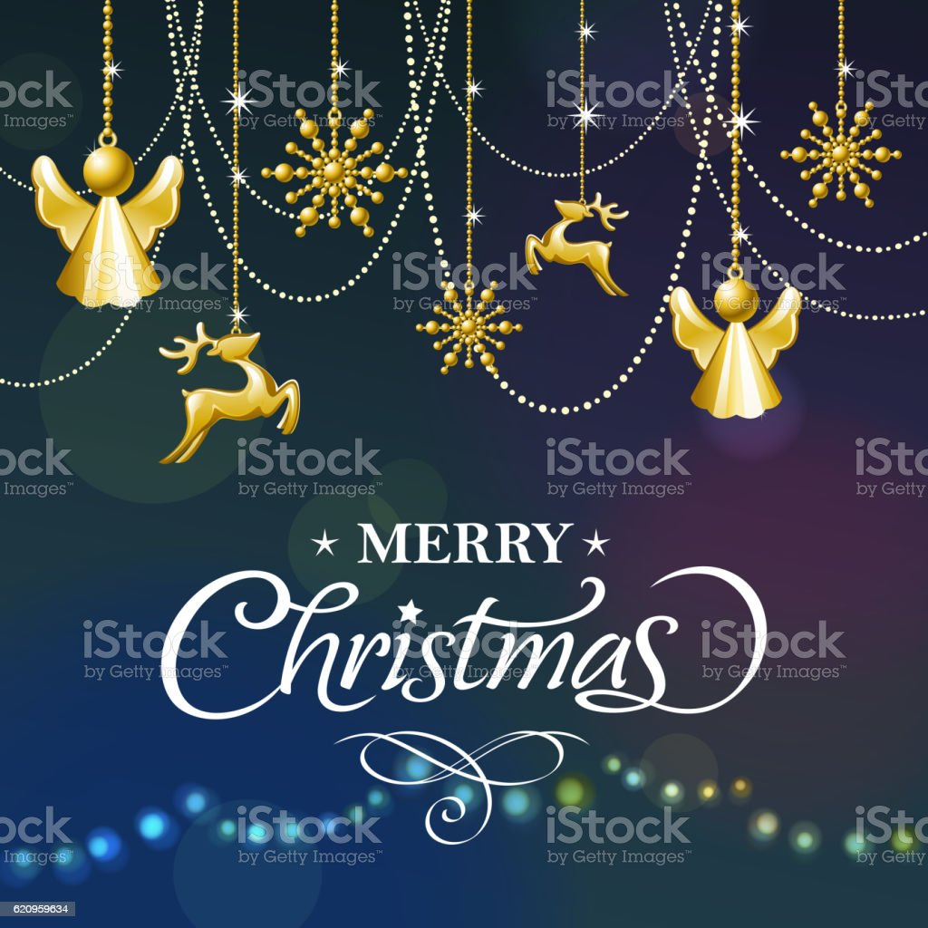 Golden Christmas Ornaments vector art illustration