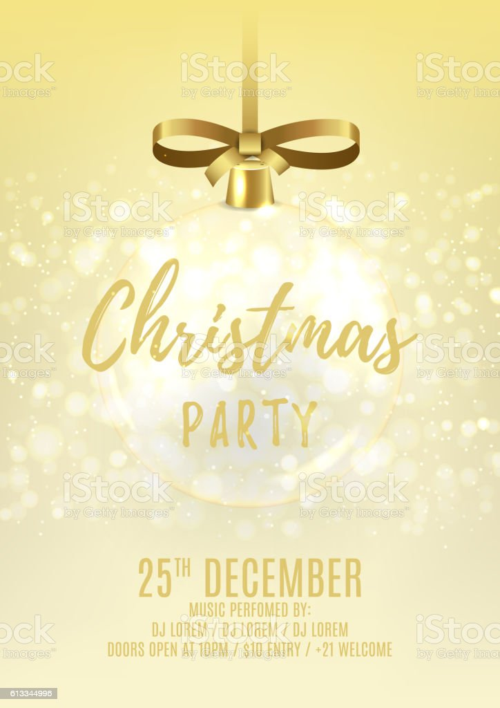 Golden Christmas party flyer with glass ball royalty-free stock vector art