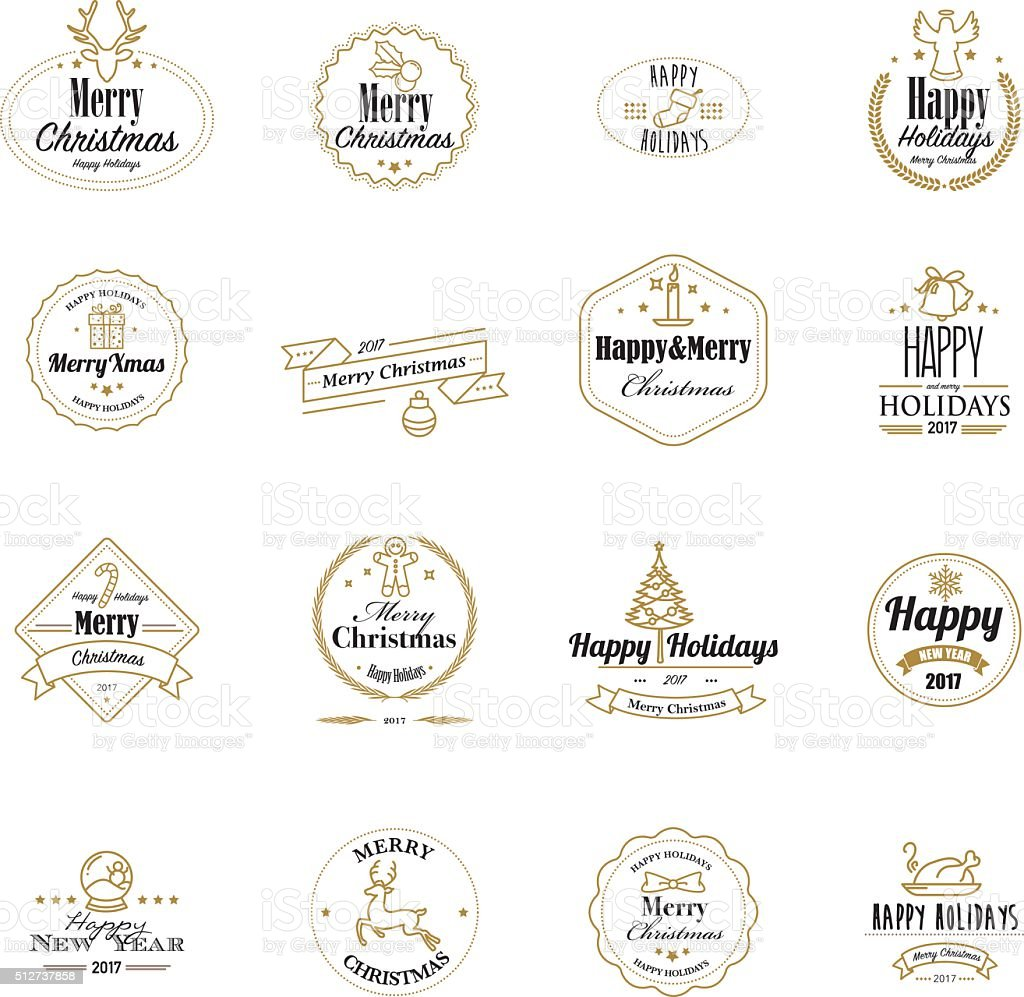Golden christmas stamps with lineart icons vector art illustration