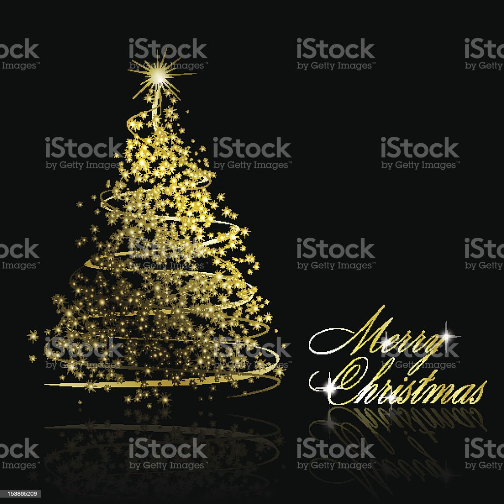Golden Christmas tree made of gold ribbons royalty-free stock vector art