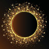 Golden circle wave sparkles  abstract background,  glitter on a dark