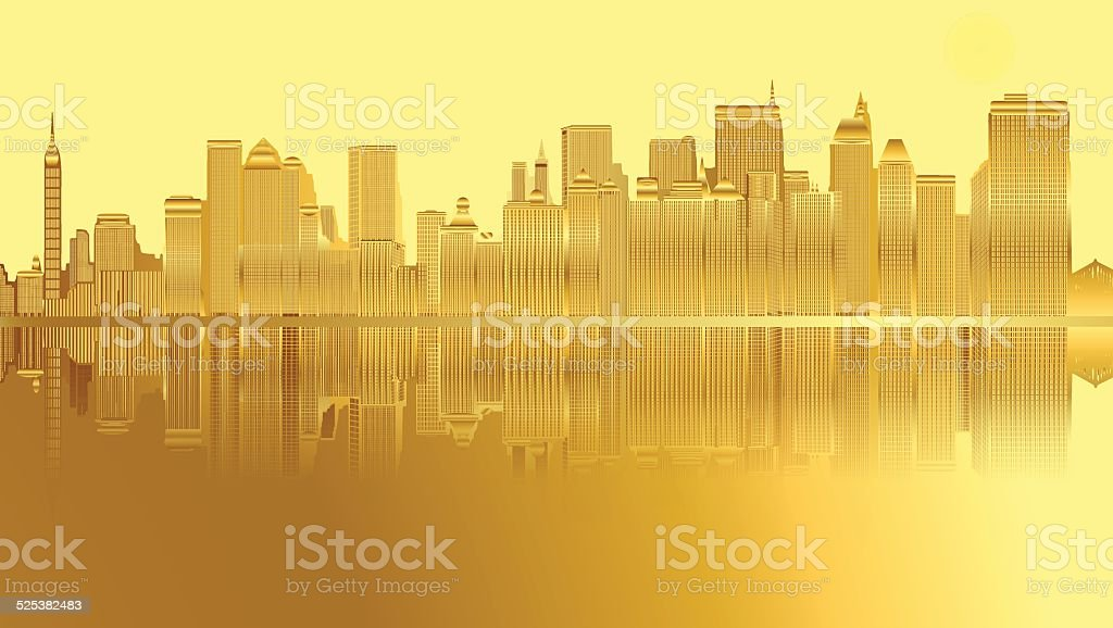 Golden city and skyscrapers in New York vector art illustration