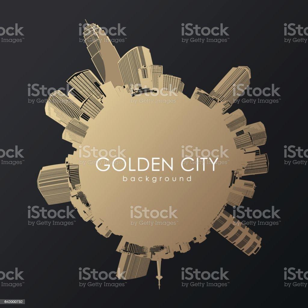 Golden city with skyscrapers. vector art illustration