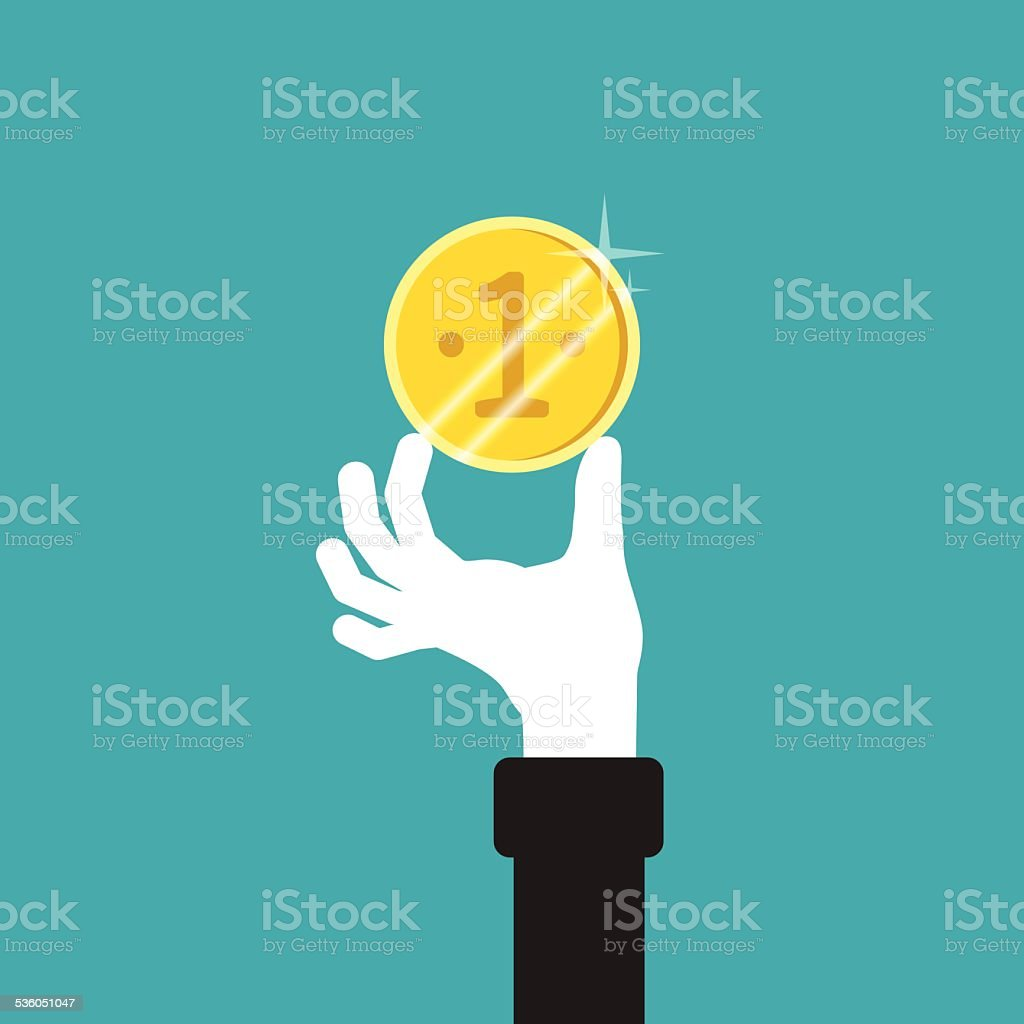 Golden coin in hand vector concept in flat style vector art illustration