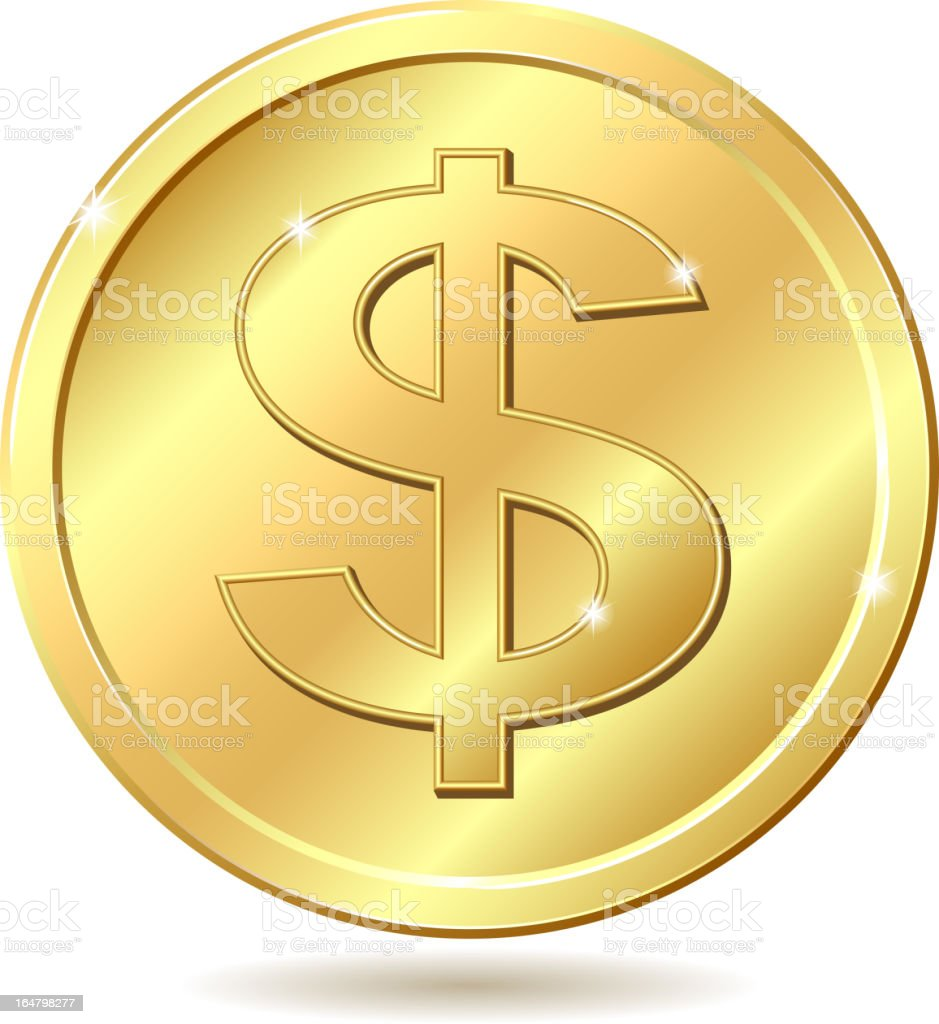 golden coin with dollar sign royalty-free stock vector art