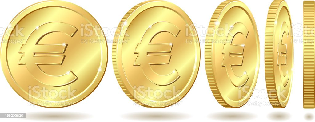golden coin with euro sign vector art illustration
