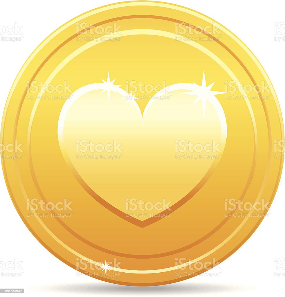 Golden coin with heart royalty-free stock vector art