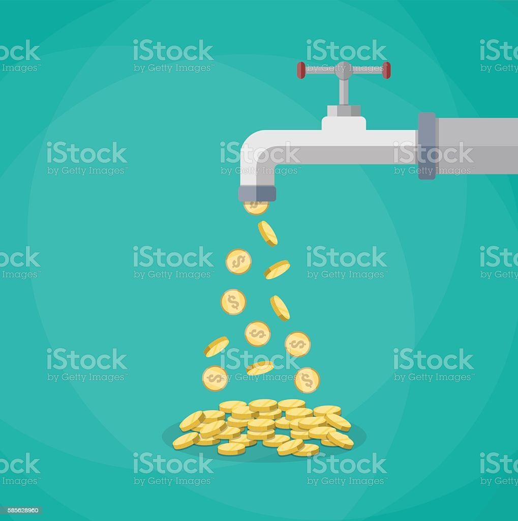 Golden coins fall out of the metal tap vector art illustration