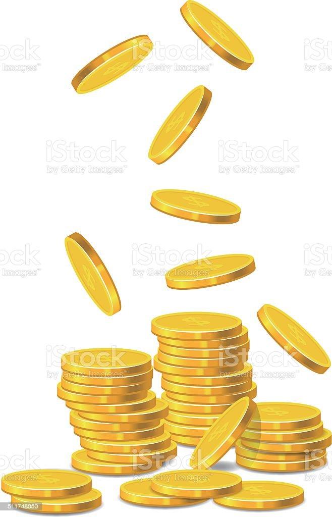 Golden Coins vector art illustration