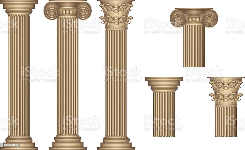Golden Columns vector art illustration