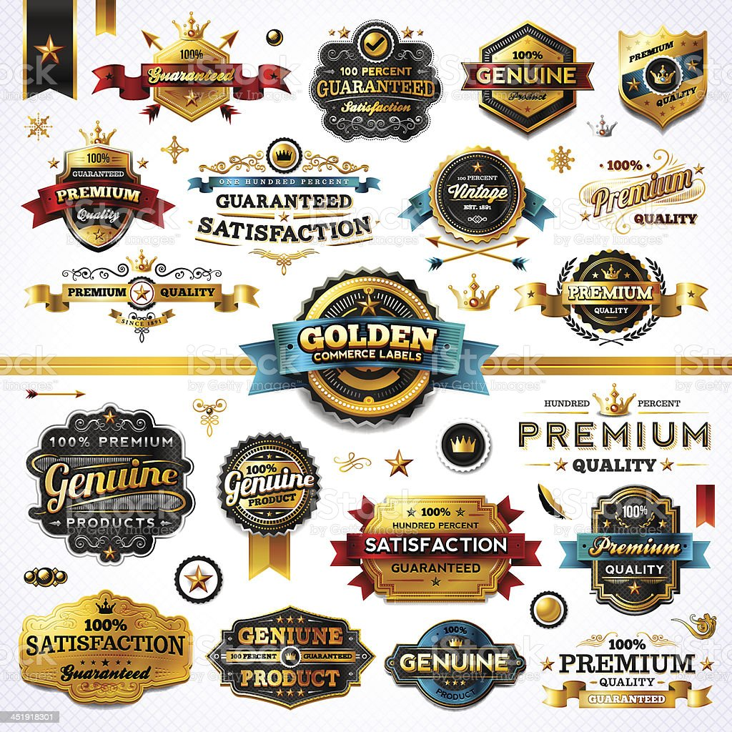 Golden Commerce Labels - Megaset (Light) vector art illustration
