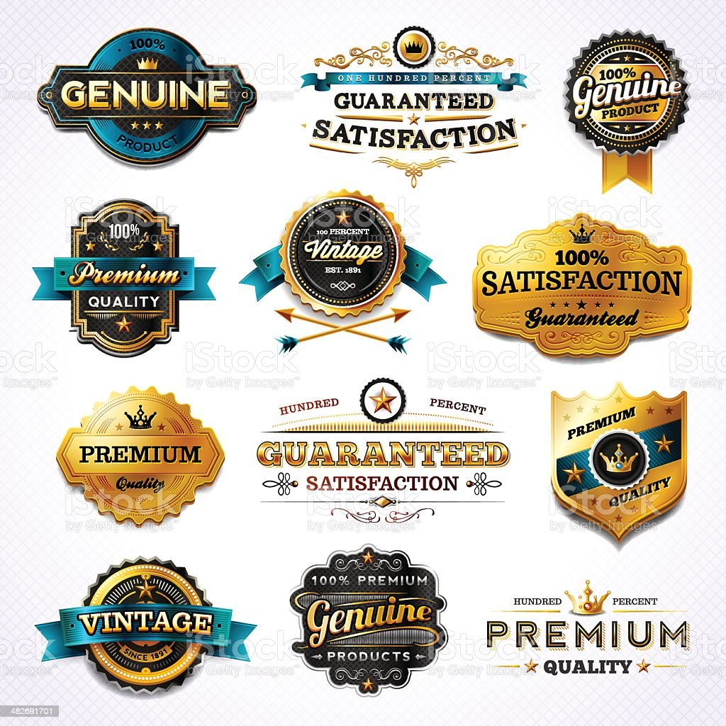 Golden Commerce Labels - Set 1 royalty-free stock vector art