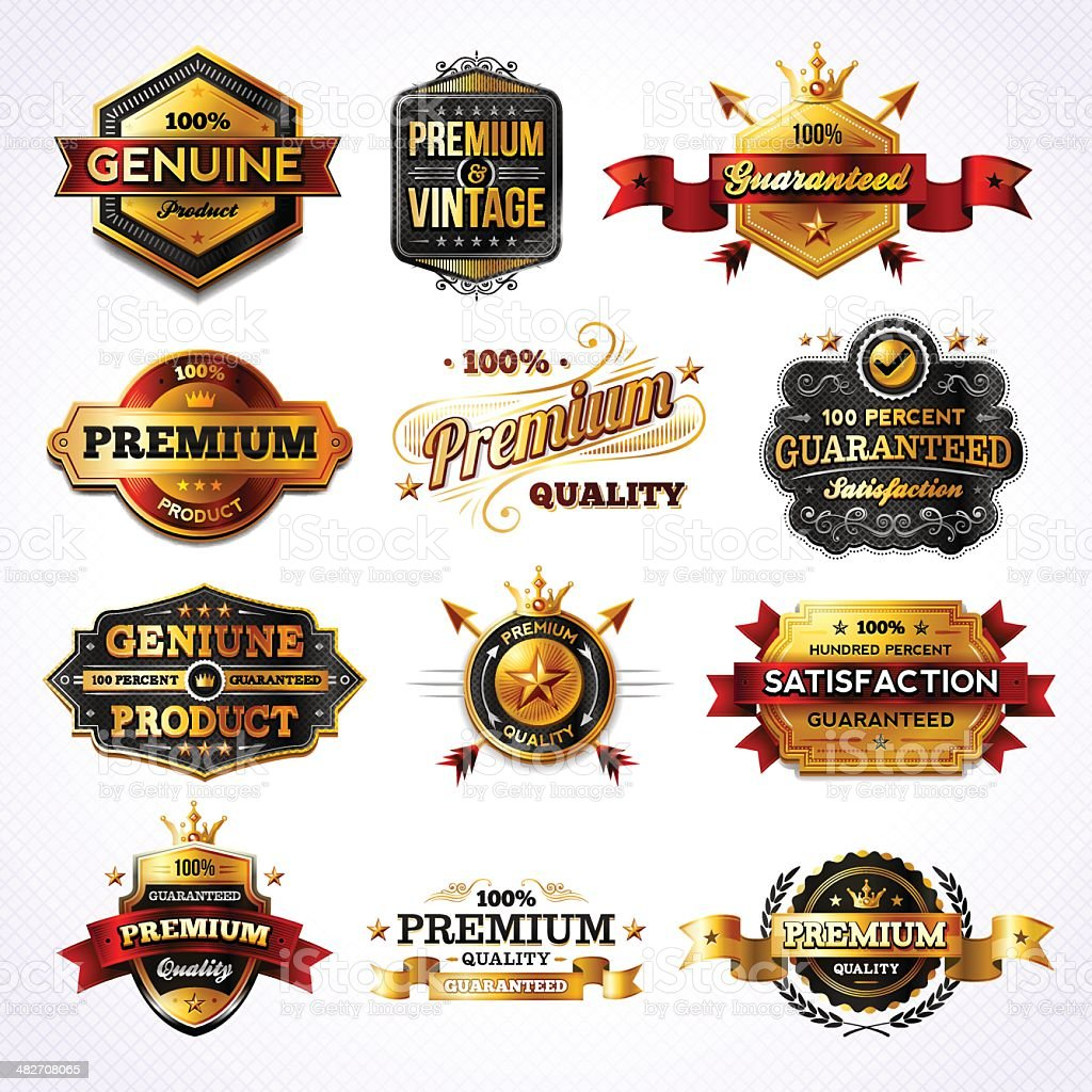 Golden Commerce Labels - Set 2 royalty-free stock vector art
