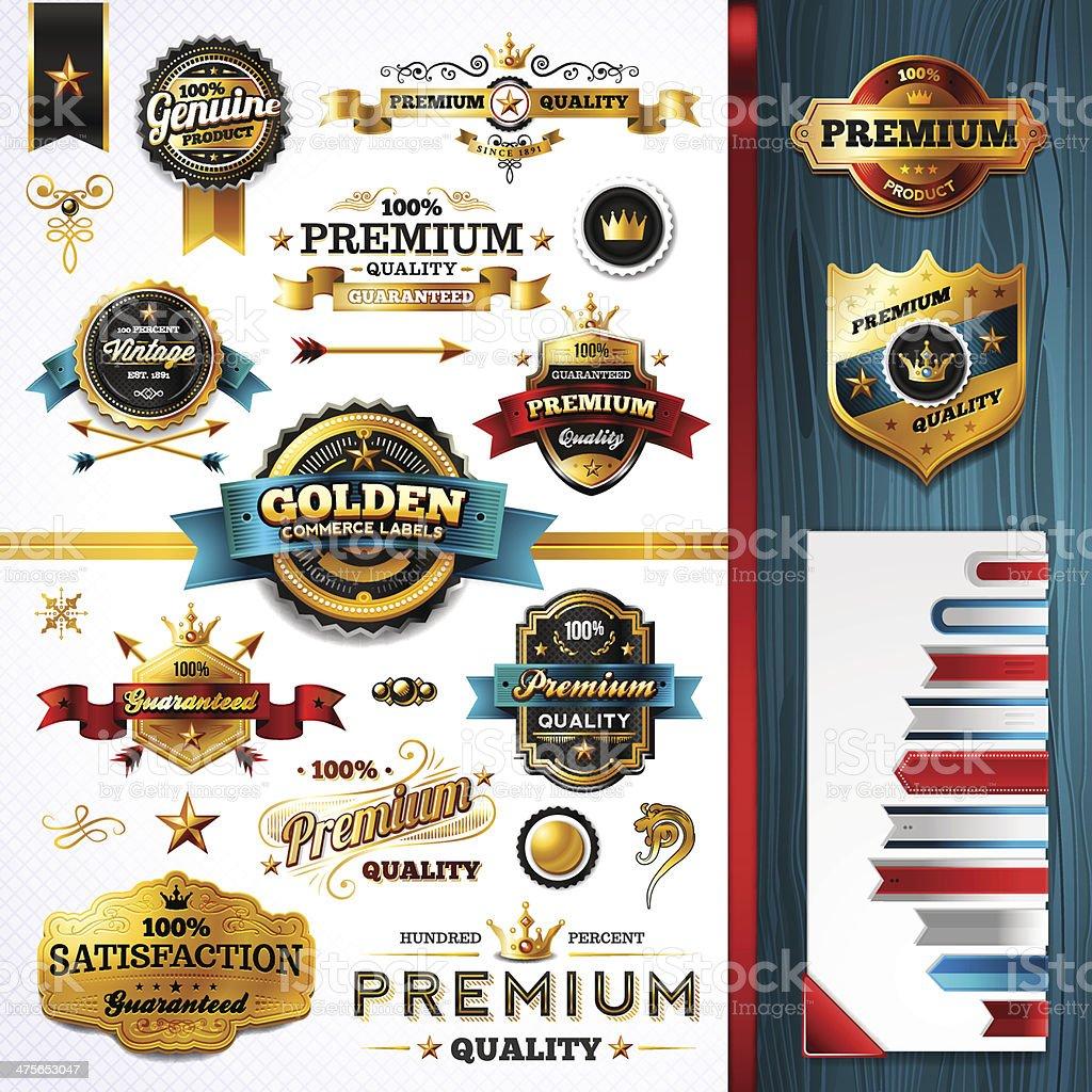 Golden Commerce Labels - Toolkit vector art illustration