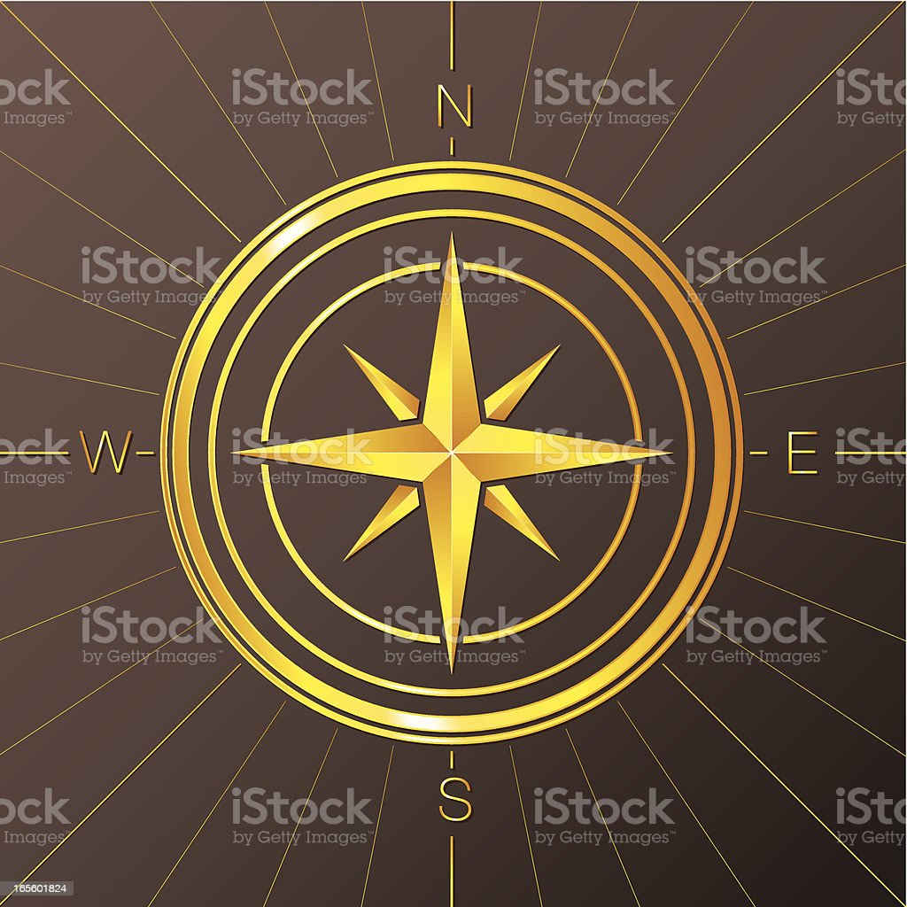 Golden Compass Rose royalty-free stock vector art