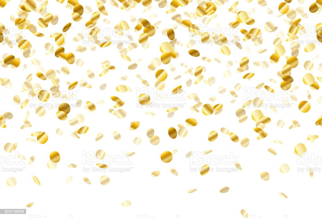 Golden confetti background. Seamless horizontal. vector art illustration