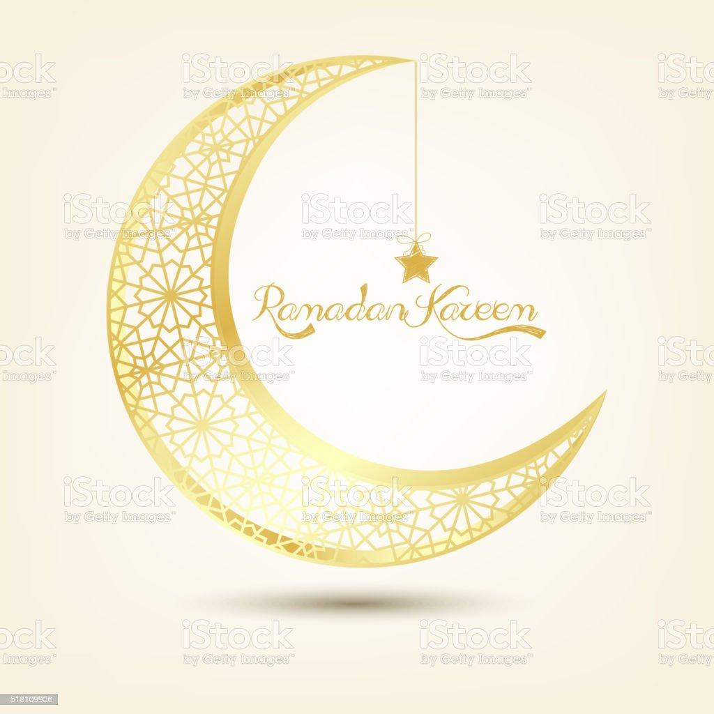 Golden crescent moon on brown background vector art illustration