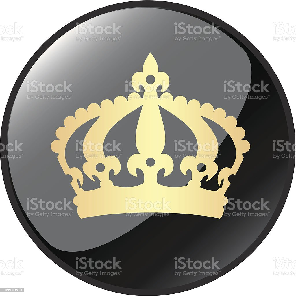 Golden Crown Icon Button vector art illustration