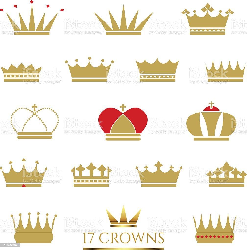 Golden Crown icon set vector art illustration