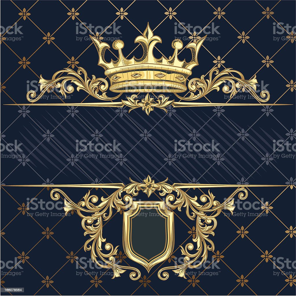 Golden crown vector art illustration