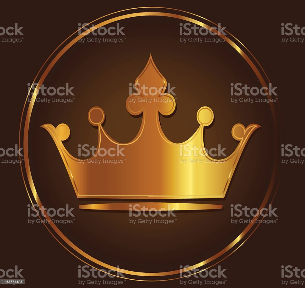 Golden crown vector art illustration