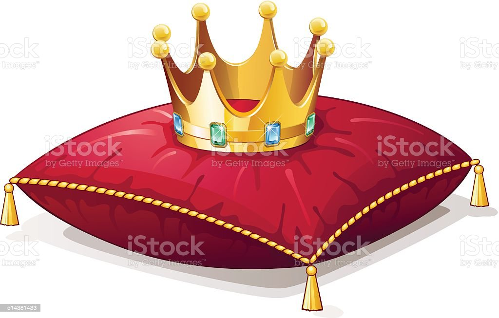 Golden crown with jewelry on a red pillow vector art illustration