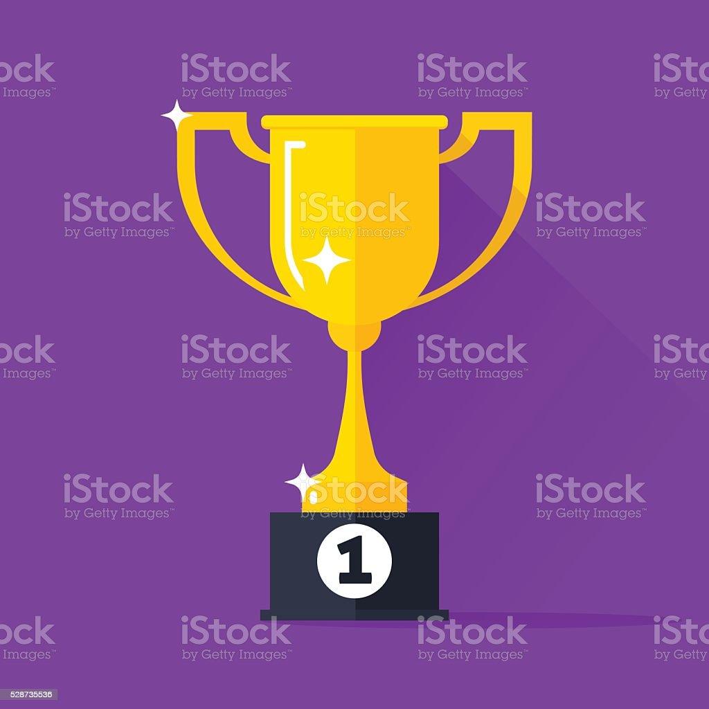 Golden cup vector illustration, gold trophy goblet flat simple icon vector art illustration