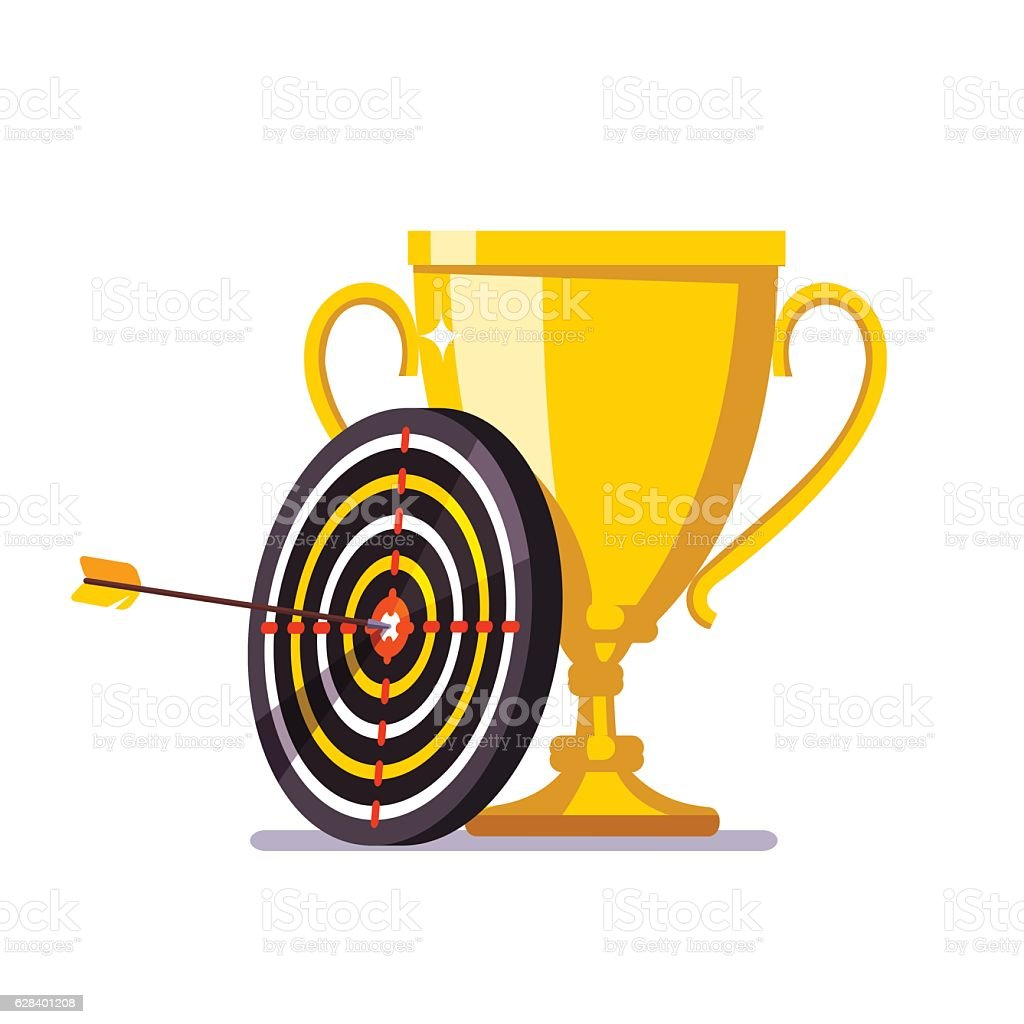 Golden cup with arrow hitting in the target center vector art illustration