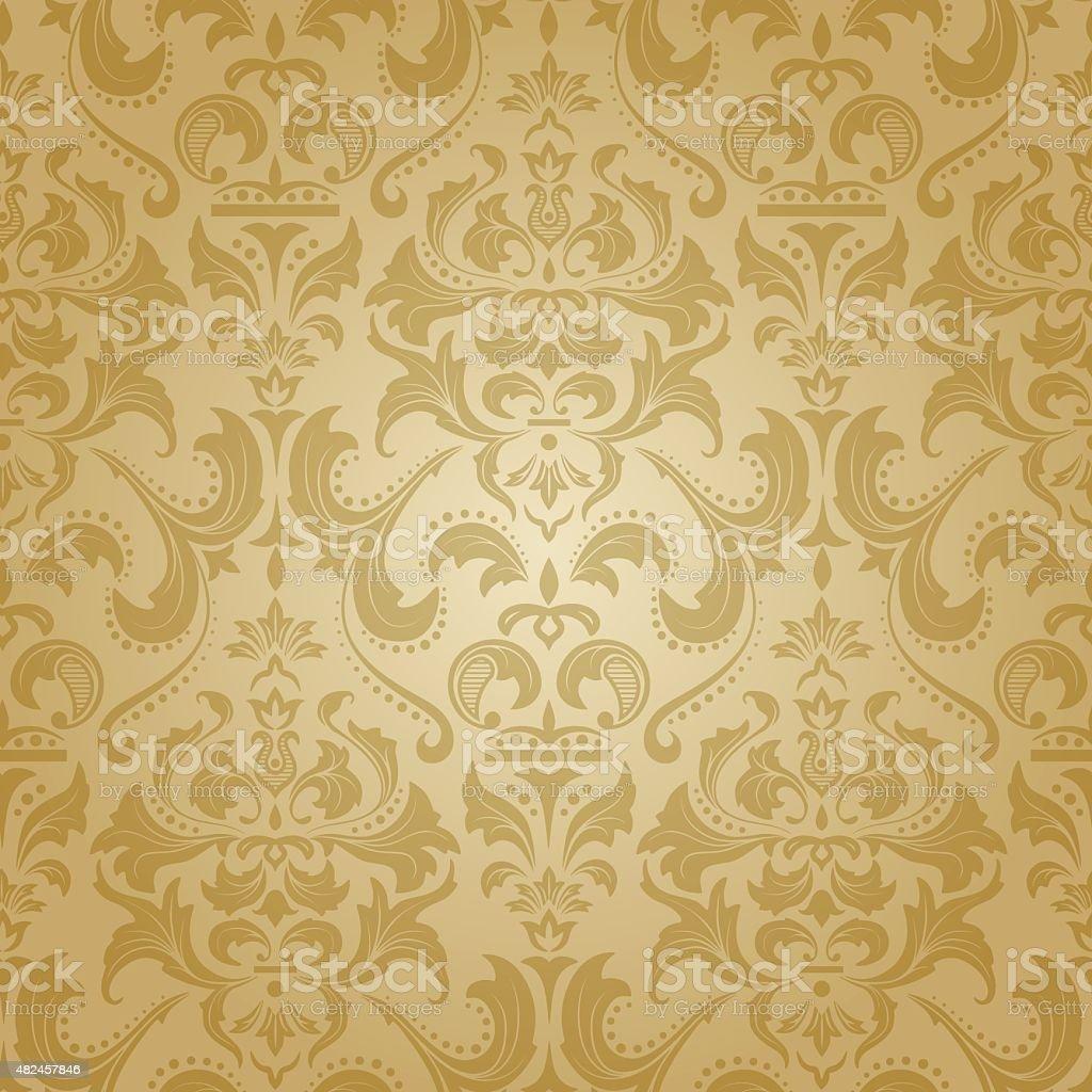 Golden damask seamless floral pattern. vector art illustration