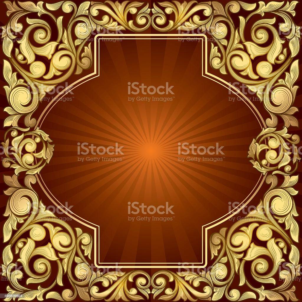 Golden decorative design vector art illustration