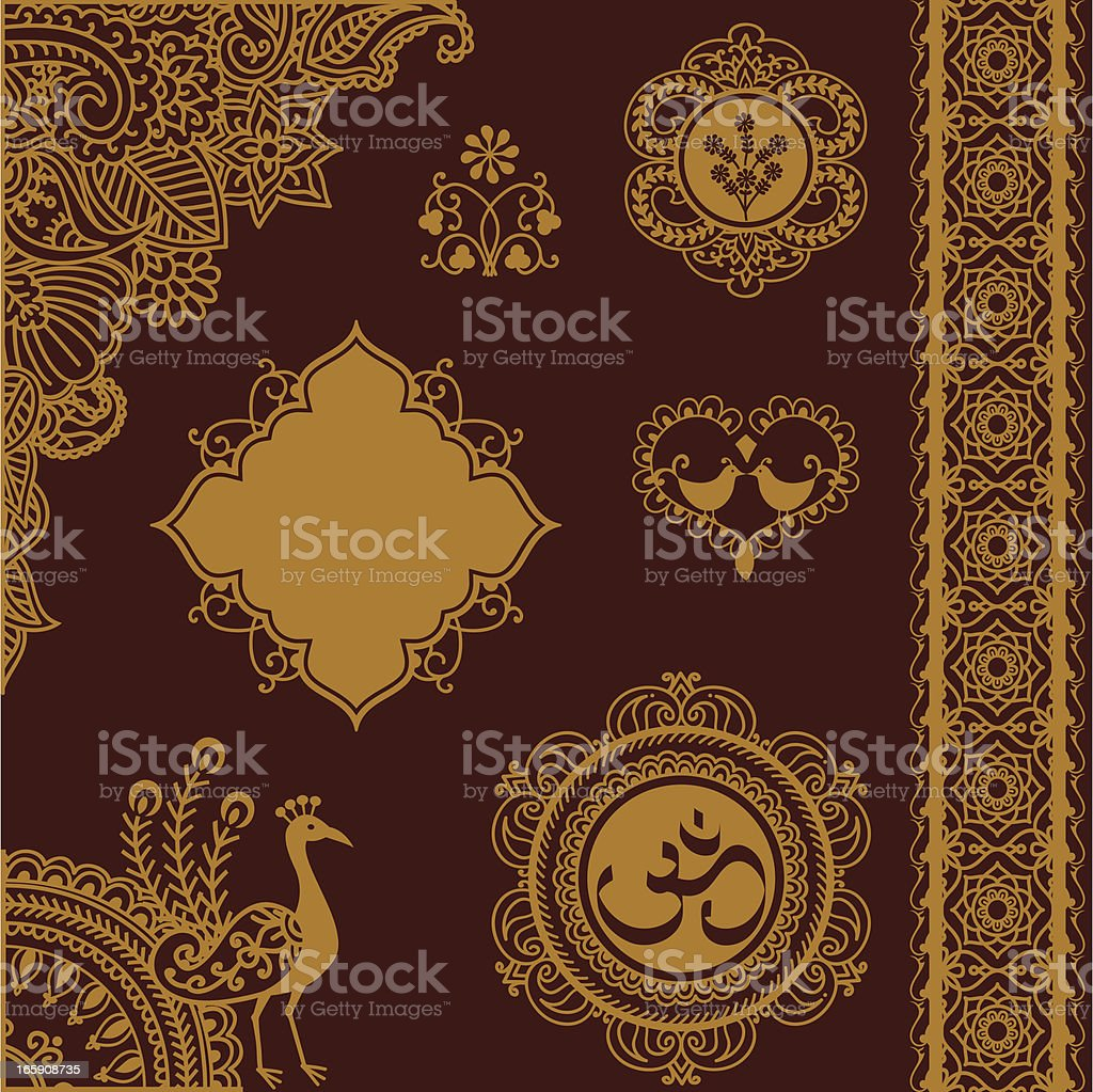 Golden Design Elements with Indian Om logo royalty-free stock vector art