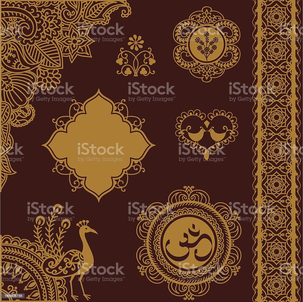 Golden Design Elements with Indian Om logo vector art illustration