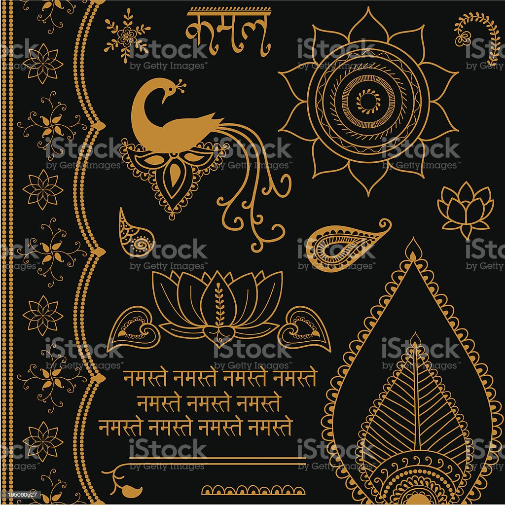 A golden design on a black background vector art illustration